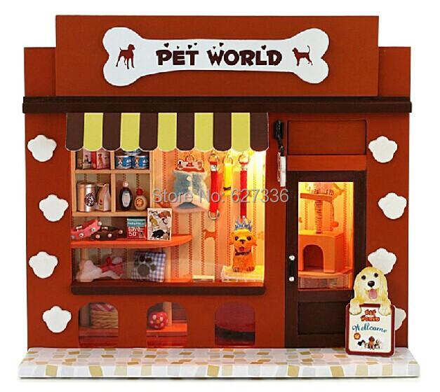 Cabin Pet Paradise,with LED lights, wooden house model,DIY house production, Dollhouse Miniature,diy handmade hut kit(China (Mainland))