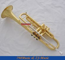 Professional JAZZ Trumpet Gold B-Flat Horn Monel Valves Abalone Shell Key +Case(China (Mainland))