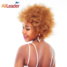 Buy AliLeader Products #1B #2 #4 Brown Blonde Synthetic Afro Wig, Natural Kinky Straight African American Wig Short Black Women for $19.63 in AliExpress store