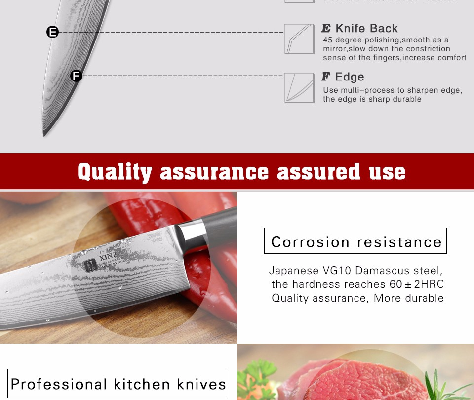 Buy XINZUO 2 pcs kitchen knife set Damascus Chef knife Japanese VG10 steel Kitchen Knife sharp santoku utility knife free shipping cheap