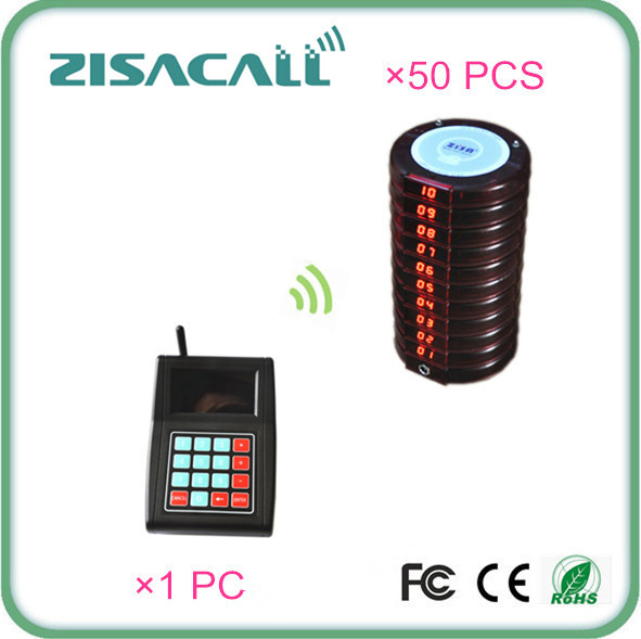 ZISACALL wireless pagers for restaurant food services with 1 transmitter keyboard and 50 coaster pagers(China (Mainland))