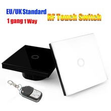 New Cheapest Lights Smart RF Touch Wall Switch,1 Gang 1 Way EU/UK Standard Wifi Wall Switch,Home Automation,White Black Panel
