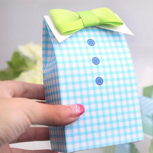2016 New 20 pcs Little Man Blue Green Bow Tie Birthday Boy Baby Shower Favor Candy Treat Bag Wedding Favors Candy Box Gift Bag(China (Mainland))