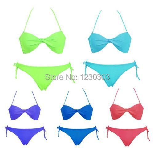 Женщины лето сексуальный бикини комплект добавил пляж купальный купальный костюм комплект верхний бюстгальтер