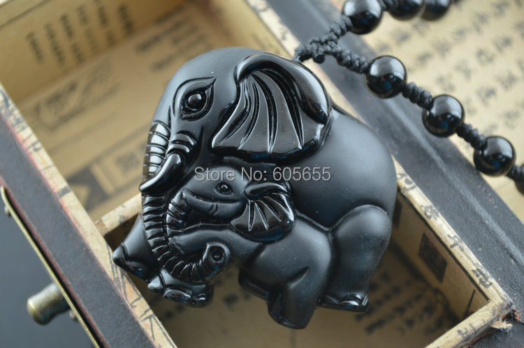 Natural Obsidian Stone Elephant Carved Pendant Necklace For Women Jewelry Sweater Chain Necklace 5pc/lot <br><br>Aliexpress