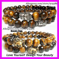 free ship 20pcs of Men s Beaded Stretch Yoga Mala Bracelet Faceted Tiger Eye bead with