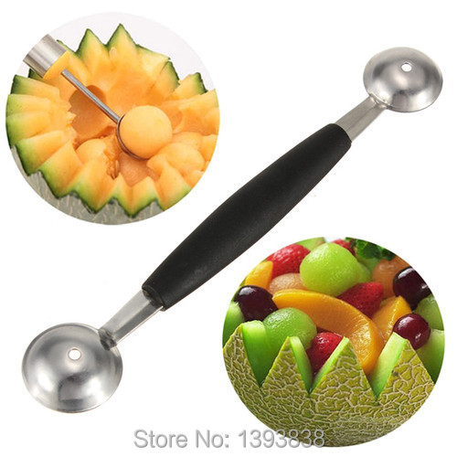 Hot Stalinless Steel Dual Double-end Melon Baller Scoop Fruit Spoon Ice Cream Dessert Sorbet Kitchenware Cook Tool(China (Mainland))