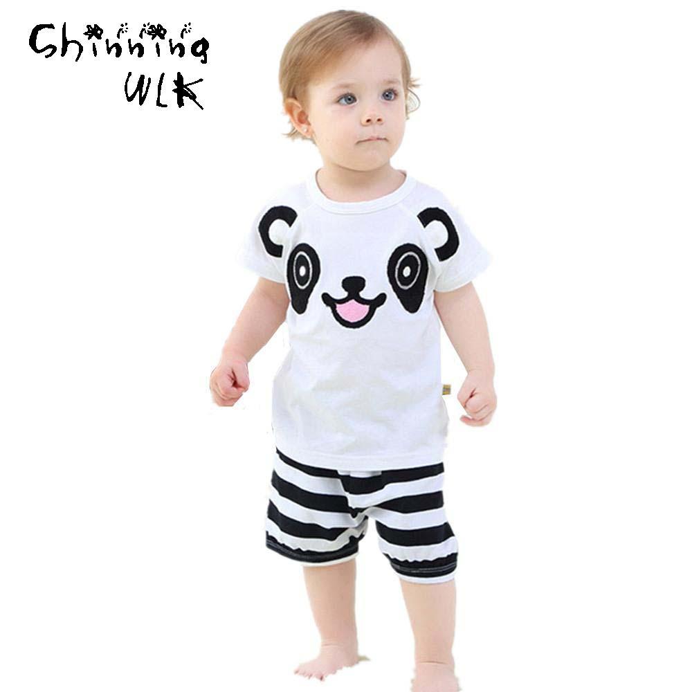 2016 New Summer Boys Clothes Fashion Kids Sets Cotton Panda Tops T-shirts + Striped Shorts 2 Pcs Suits Kids Clothes Boys Sets(China (Mainland))