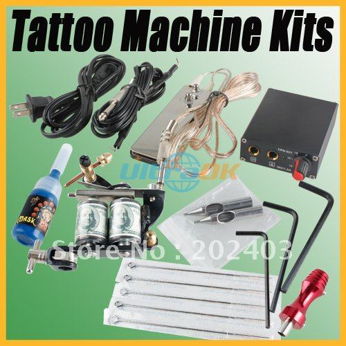 Complete Tattoo Equipment Single Machine Gun Color Inks Power Supply Kits