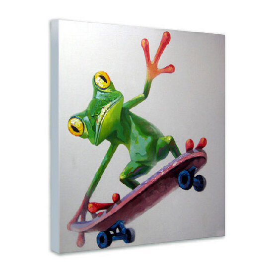 2015 Hottest Sale Factory Price High Quality Skilled Artists Handmade Funny Frog Wall Picture on Canvas for Home Wall Decoration(China (Mainland))