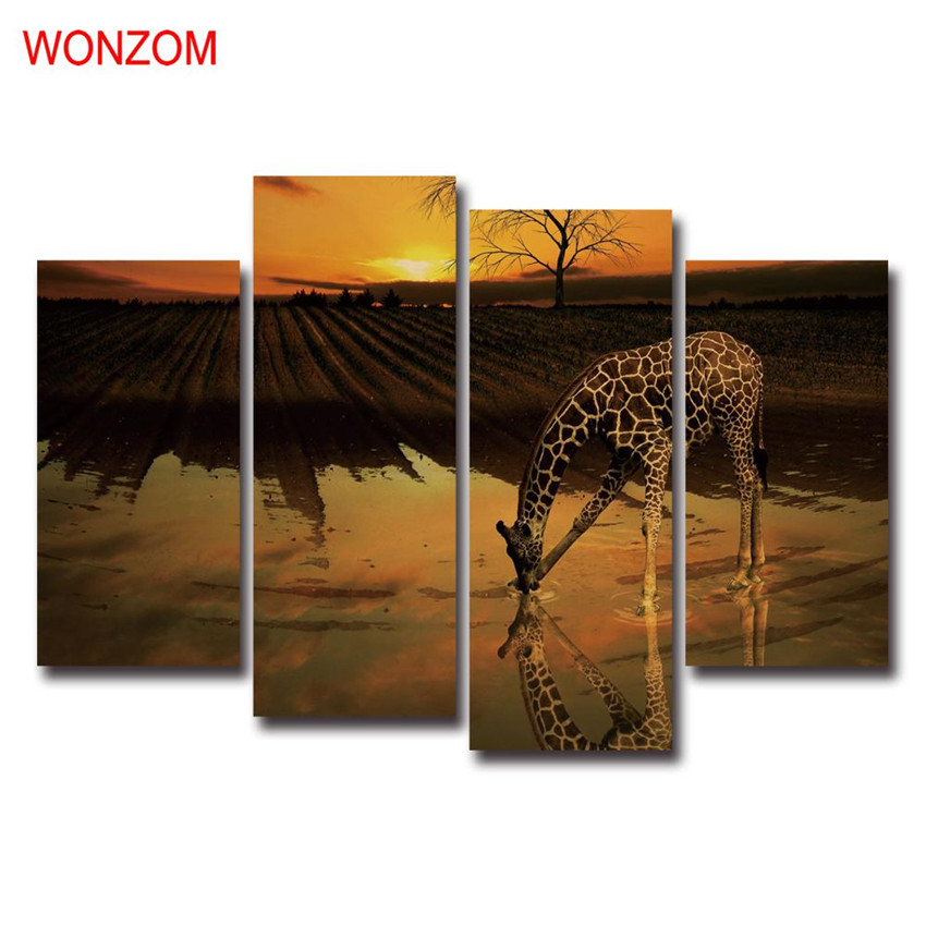 Giraffe Drinking Canvas Art Sunset Farm Decorative Pictures Modern Wall Christmas Canvas Pictures For Home Decor Poster Retro(China (Mainland))
