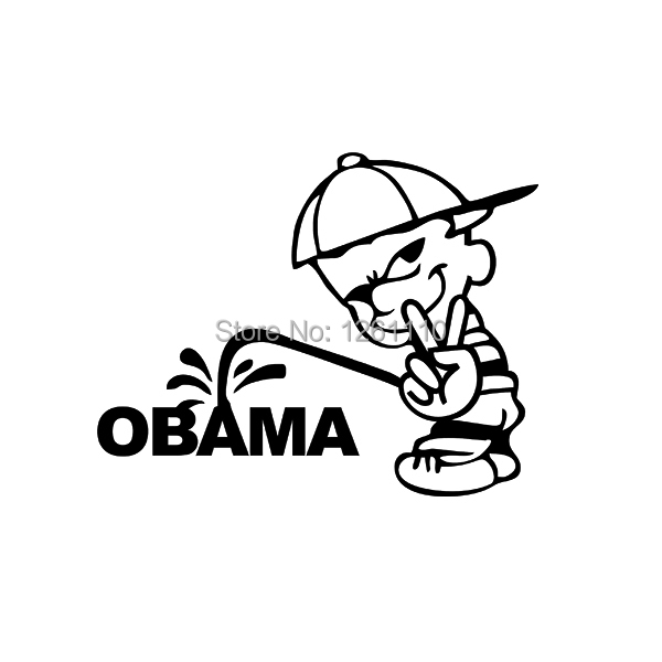 Funny USA Bad boy Calvin V Victory Sign Pee Piss ON ANTI OBAMA JDM Vinyl Decal Label Car Sticker For Truck Window Bumper Laptop(China (Mainland))