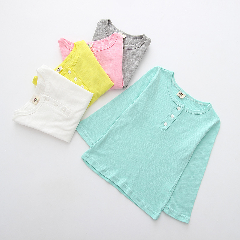 Summer Baby Girl T shirt Full-Sleeve Solid Candy Color Kids T-Shirt Children Girls Clothing Suit Infant Tops LH523(China (Mainland))