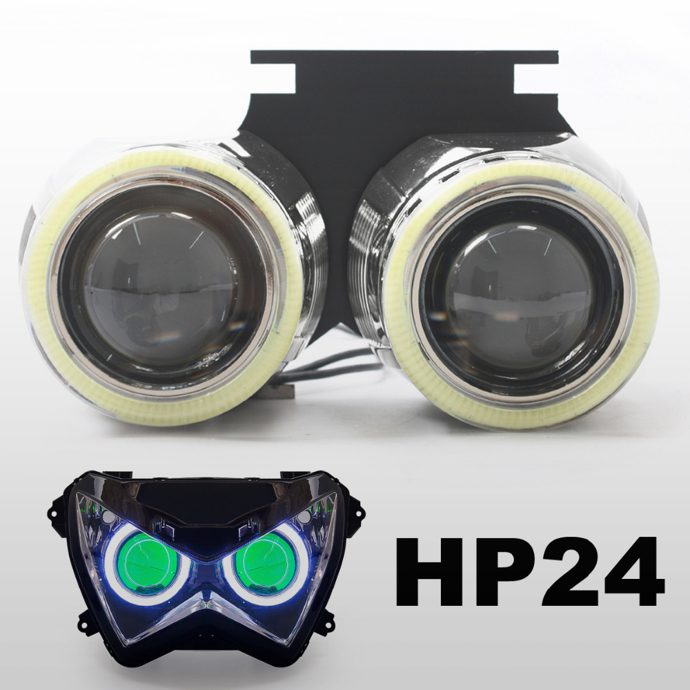 KT HID Projector Kit Suitable for Kawasaki Z800 2013 2014 2015 2016 Motorbike Angel Halos Eyes Demon Lens Green(China (Mainland))