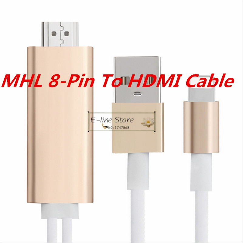 E-line 8 Pin to HDMI Converter Adapter, MHL To HDMI Cable 1080P HDTV Adapter USB Cable For iPhone 5 5S 6 6S Plus(China (Mainland))