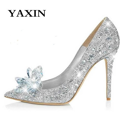 2015 White High Heeled Thin Heel Pumps Crystal Rhinestone Pointed Toe Wedding Shoes Stiletto Cinderella - Anna's World store