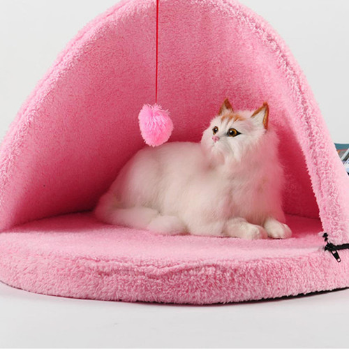 New Arrival Cute Soft pink color with fun play ball Cat Bed for Cat Mongolian Yurts Bed Free Shipping(China (Mainland))