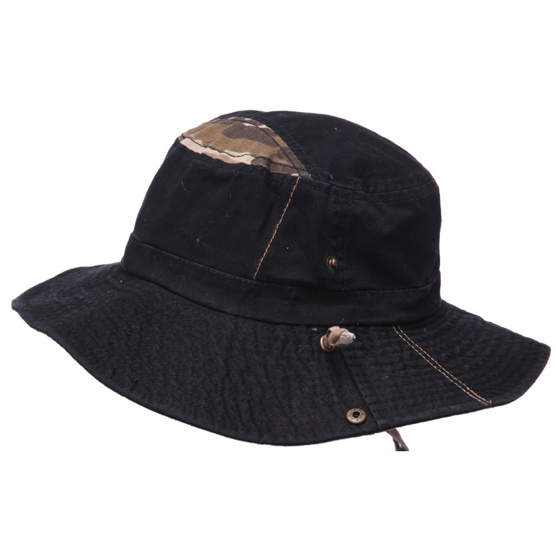 Mens 100 cotton fishing hat with string boonie bucket pu for Fishing bucket hats