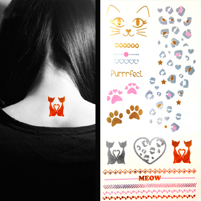 2015 New glitter bracelet tattoos cat leopard gold temporary tattoo stickers young women body art painting tatoo - GIRL'S TALK Jewelry Co.,ltd store