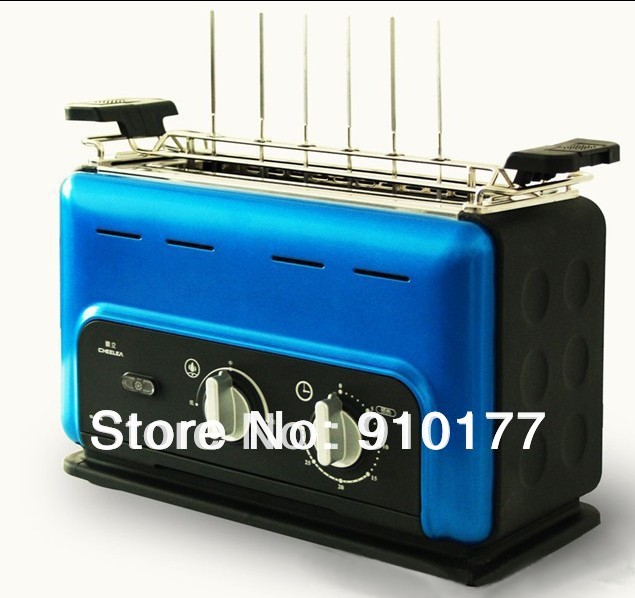 portable stainless steel vertical smokeless electric barbecue mini bbq grill home indoor, with steel grill pan ,blue 035(China (Mainland))