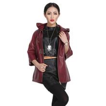 2015 New Genuine Sheep Leather Jacket Hooded Women Fashion Outwear Zipper Breasted Ajustable Hem Winter Hoody Pockets AU00703(China (Mainland))