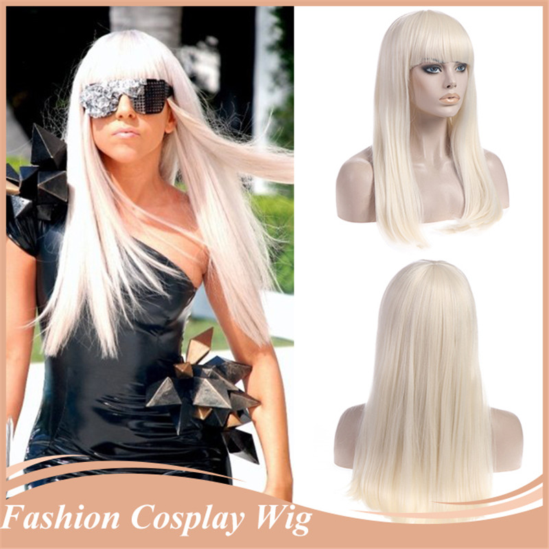 1PC Cosplay Wigs for Women Straight Wig Synthetic Hair Heat Resistance Lady GaGa Cosplay Hair Free Gift Cap 60#(China (Mainland))