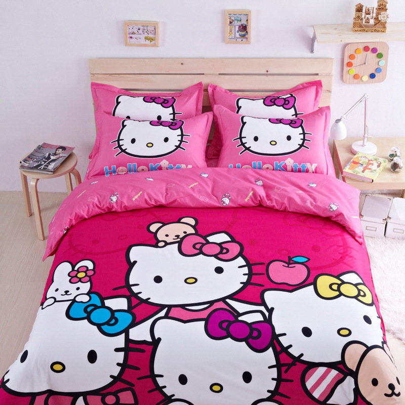 2015 New Hello Kitty Cartoon Bed Set Bedding Sets Bed