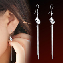 Fashion Silver Plated Long Tassel Earrings For Women Bridal Jewelry OL Snake Chain Earhook Dangle Earrings Boucle d'oreille(China (Mainland))