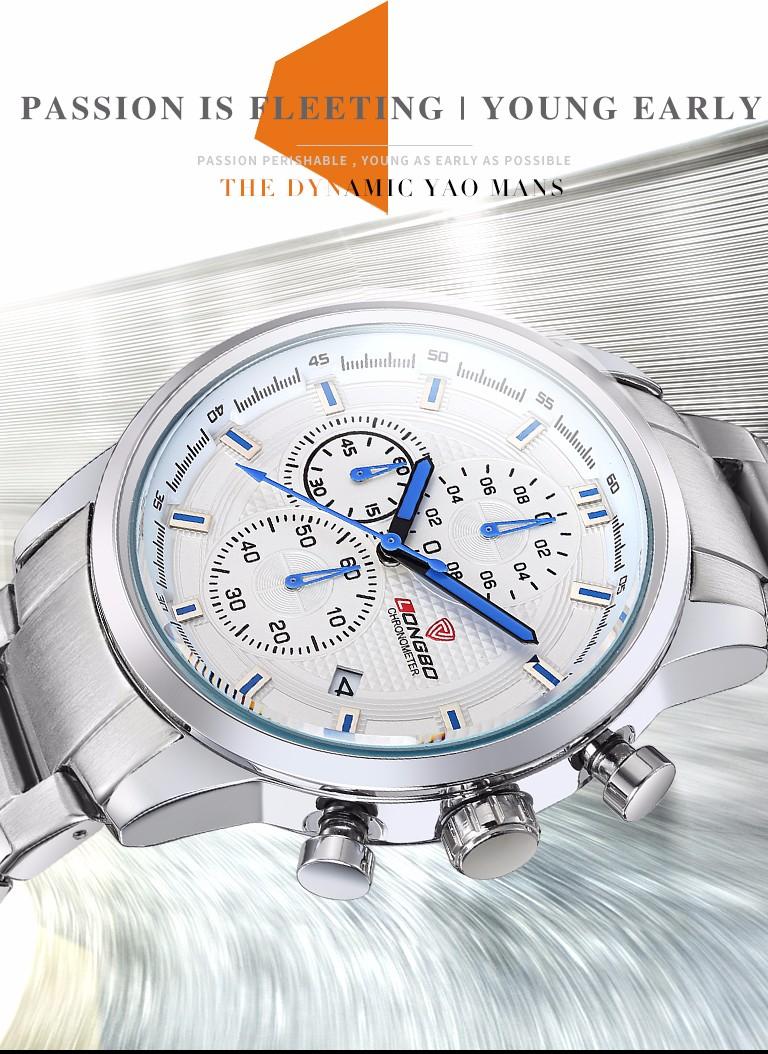 Longbo люксового бренда мужчины часы хронограф из нержавеющей стали кварцевые часы мужчины водонепроницаемый свободного покроя наручные часы Relogio Masculino