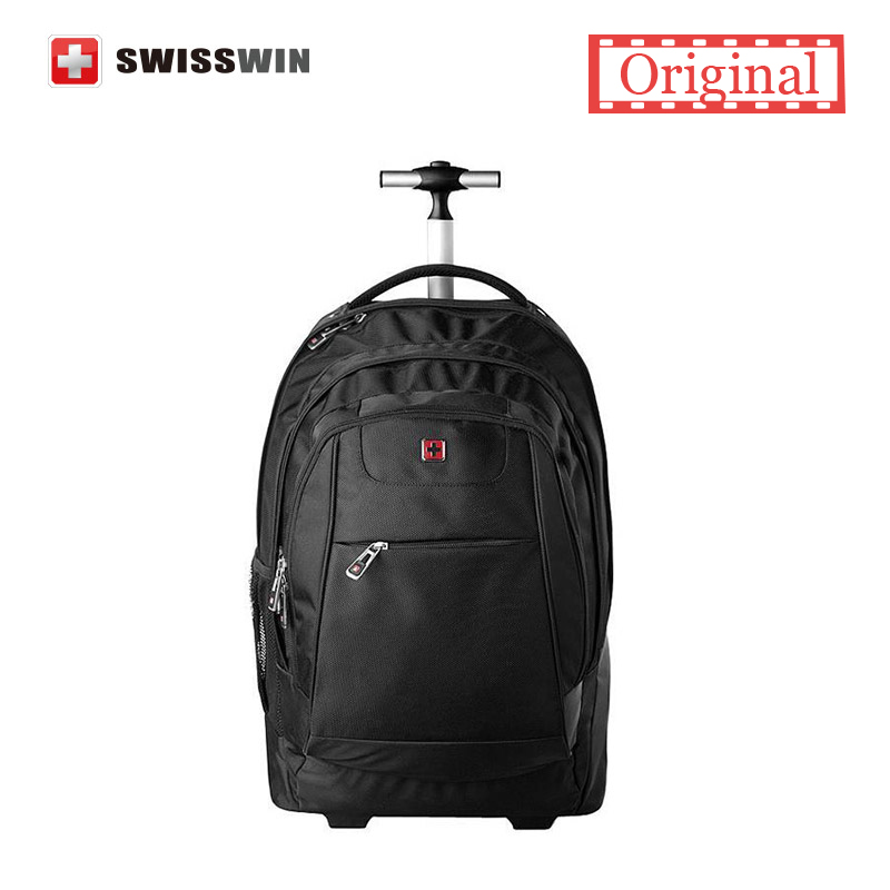 Swisswin Black Rolling Backpack SWE1058 20 Inch 50L Wheeled Laptop Backpack For Business Travel ...