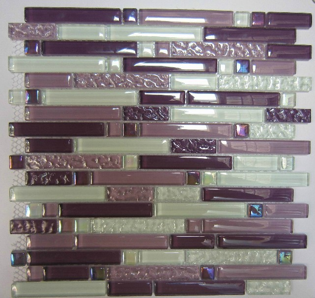 Purple Glass Mosaic Tile Backsplash SGMT063 White Glass
