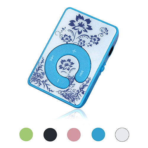 Mini Clip Flower Pattern MP3 Player Music Media Device Support Micro SD TF Card(China (Mainland))