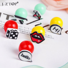 2016Hot Sale Cute Graffiti Double Sided Earring Personality Hip Hop Style Lips Lightning Round Ball Stud Earrings For Women(China (Mainland))