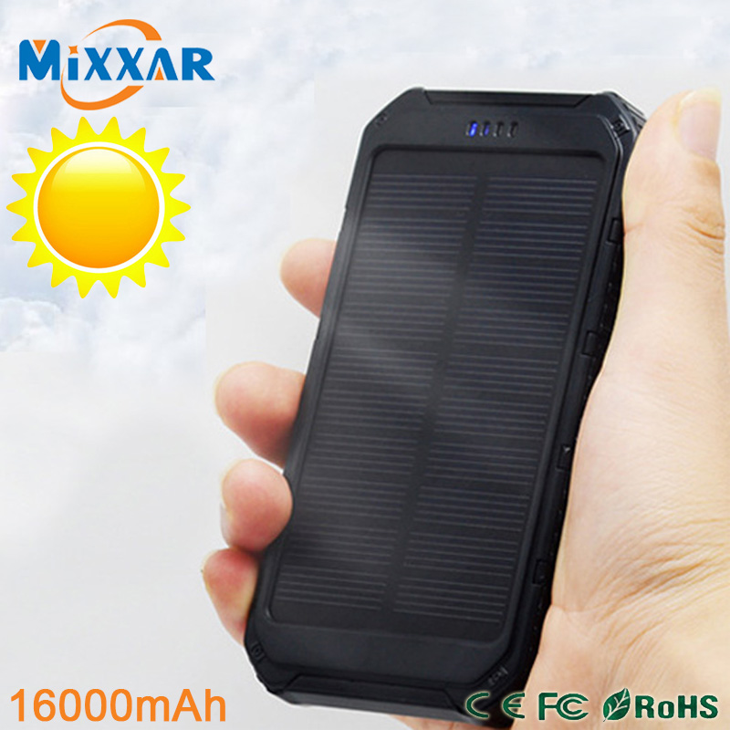 zk90 Portable Solar Power Bank 16000mAh Bateria Externa Mobile Phone Powerbank Battery Charger Dual USB Output For Cellphone(China (Mainland))