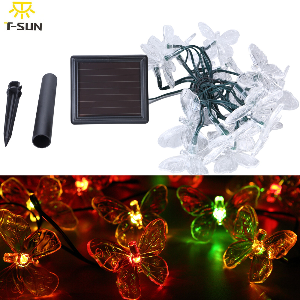 Solar Lamps 20 LEDs Colorful Butterfly Garland Holiday Decoration Outdoor Garden Christmas Solar Powered LED Lights(China (Mainland))