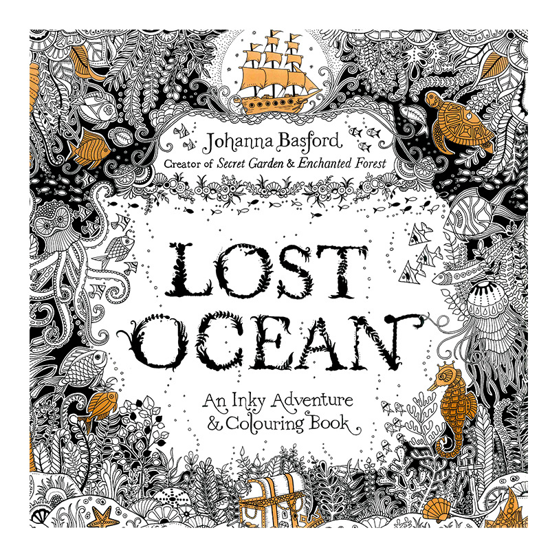 24 Pages English Lost Ocean Edition Colouring Book for Children Adult Relieve Stress Kill Time Graffiti Painting Drawing Book(China (Mainland))