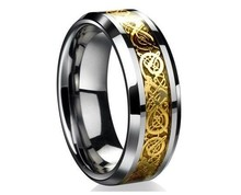 Dragon Domineering Hollow Golden silver Nibelungen 316L Stainless Steel wedding rings for men wholesale(China (Mainland))