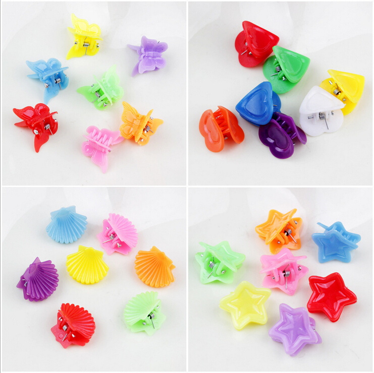 100pcs/lot Charming candy colors cute small plastic hair clips for baby girls fringe hair clips kinds of lovely designs hairpins(China (Mainland))