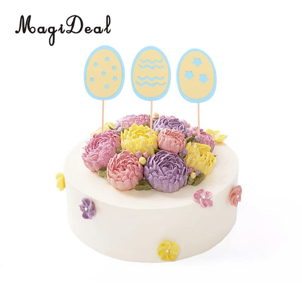 2018 Happy Easter Eggs Cupcake Picks Cake Topper Easter Decoration