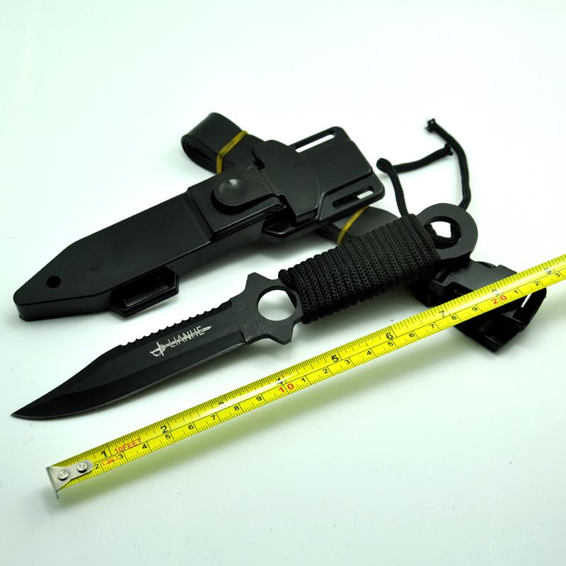 Hot Sale, Fixed Blade Knife Survival knife Tactical Knife 3Cr13 Blade Titanium Knife 55HRC + Plastic sheath(China (Mainland))