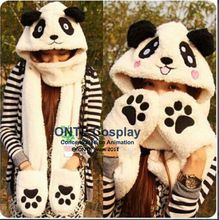 3 in 1 Functions Animal Cartoon Coral Fleece Scarf Winter Lovely Panda Rabbit Hat with Gloves for Kids / Adult Christmas Gift(China (Mainland))