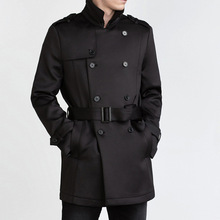 VogaIn 2016 Spring Mens Double Breasted Short Trench with Belt gentleman Coat with Pockets shoulder Epaulets(China (Mainland))