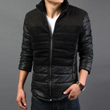 2015 New Winter Jackets Men Patchwork Polka Dot Cotton Wadded Winter Down Jackets Man Winter Coats For Men Size 3XL 5off