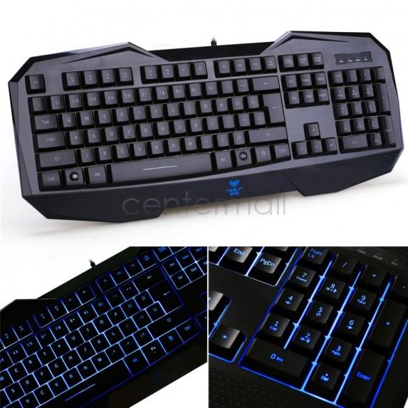 Fashion Black LED Backlight USB Wired Illuminated Game Keyboard for Laptop US25(China (Mainland))