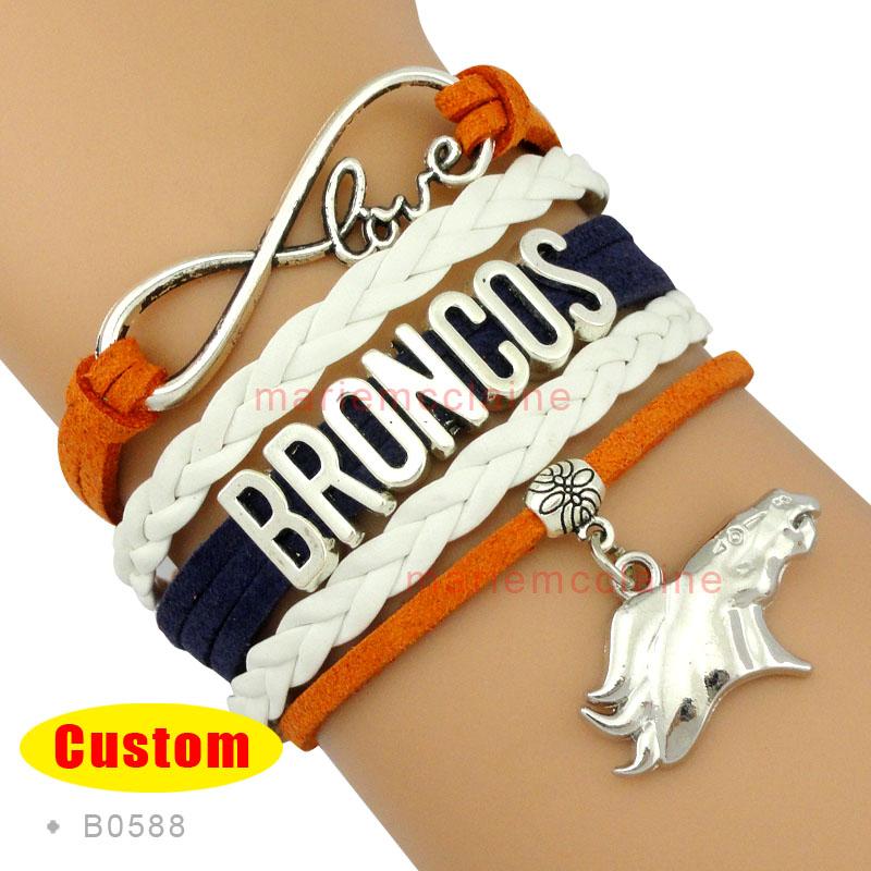 (10 Pieces/Lot) Infinity Love Denver Wrap Bracelet Broncos Football Team Bracelet Orange Navy White Leather Women's Fashion(China (Mainland))