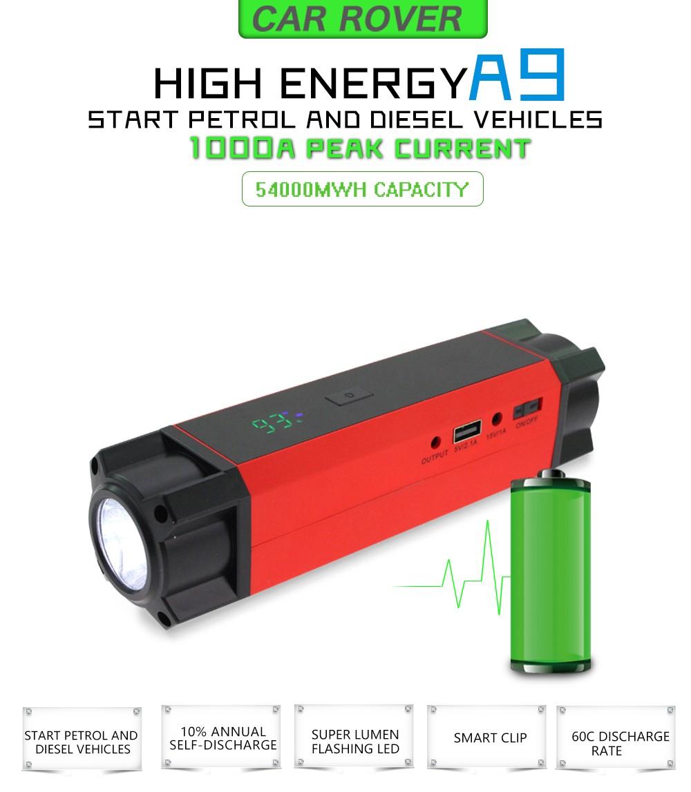 Купить Настоящее 14800 мАч Автомобиль Скачок Стартер Power Bank Автомобильное Зарядное 54000mWh Разряда 60C Пиковый Ток 1000A с Smart Power клипы