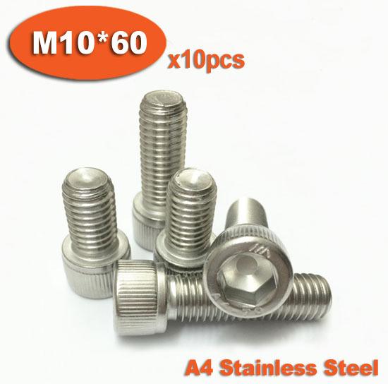 10pc DIN912 M10 x 60  Stainless Steel A4 Marine Grade Screw Hexagon Hex Socket Head Cap Screws<br><br>Aliexpress