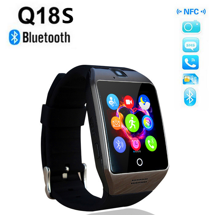 2016 Newest NFC Smart Watch Q18S Arc Clock support camera Sim TF Card Bluetooth Connection For Android smartPhone PK GV18 Q18(China (Mainland))