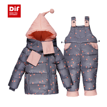 Children Boys Girls Winter Warm Down Jacket Suit Thick Hooded Coat+Jumpsuit Baby Clothing Set Kids Raindrop Outerwear with Scarf(China (Mainland))