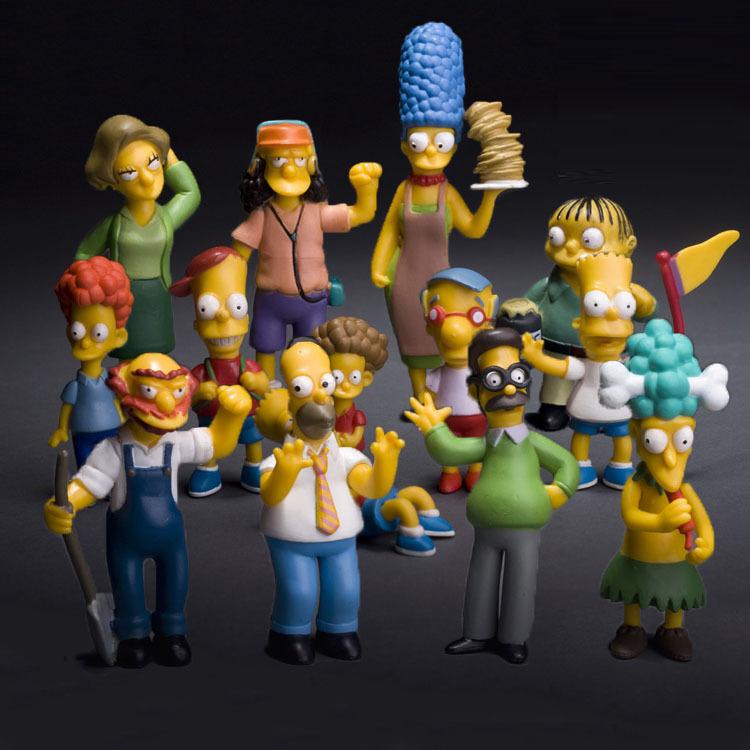 2015 New 6 12cm 14pcs set Anime Cartoon PVC The Simpsons Action Figures Set Model Toys